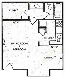 475 sq. ft. A2 floor plan