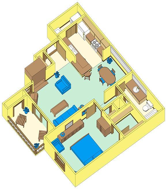 698 sq. ft. B1 floor plan