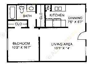 580 sq. ft. A-2 floor plan