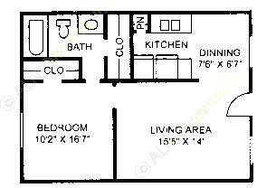 580 sq. ft. A-2 floor plan