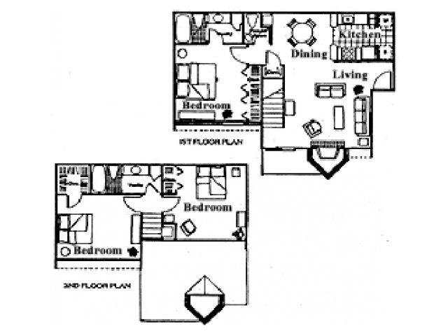 1,295 sq. ft. K floor plan