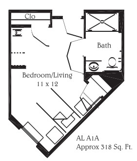 318 sq. ft. A1A floor plan