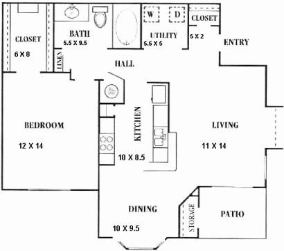 819 sq. ft. B floor plan