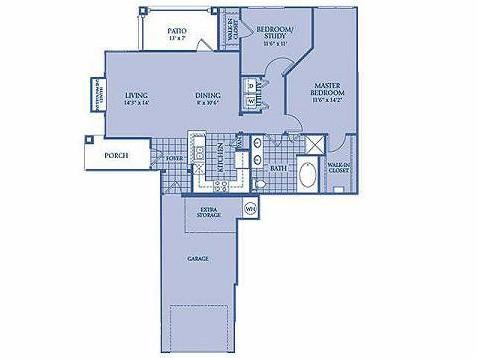 1,098 sq. ft. AQUAMARINE floor plan