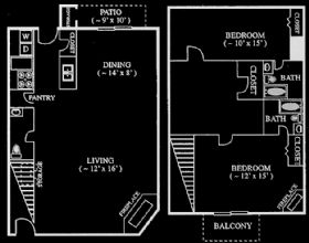 1,253 sq. ft. floor plan