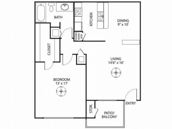 823 sq. ft. A-3 floor plan
