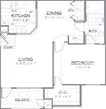 770 sq. ft. LAREDO/60 floor plan