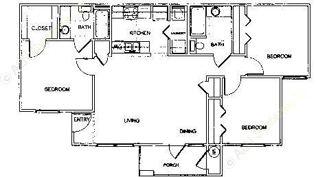 1,087 sq. ft. C1 MKT 3 floor plan