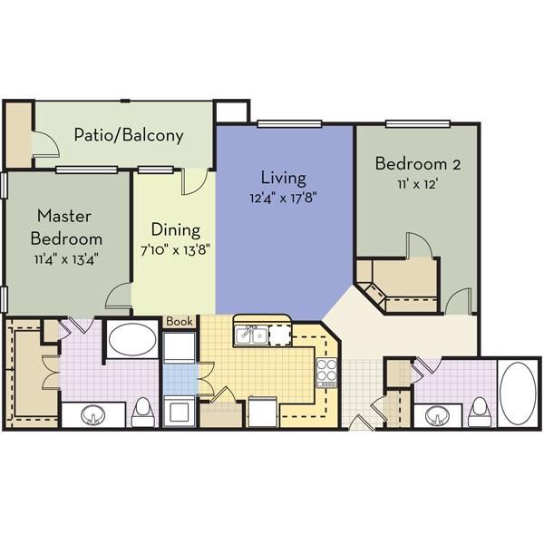 1,245 sq. ft. PARADISE BAY floor plan