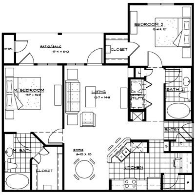 1,198 sq. ft. CATANIA floor plan