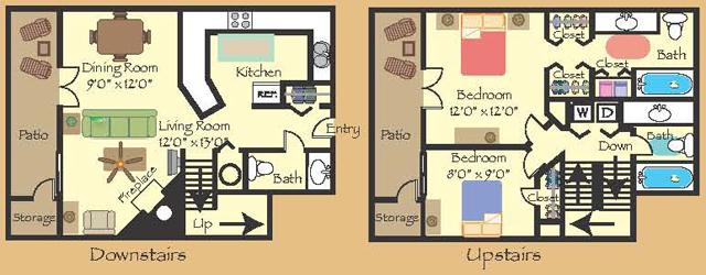 1,080 sq. ft. 22T floor plan