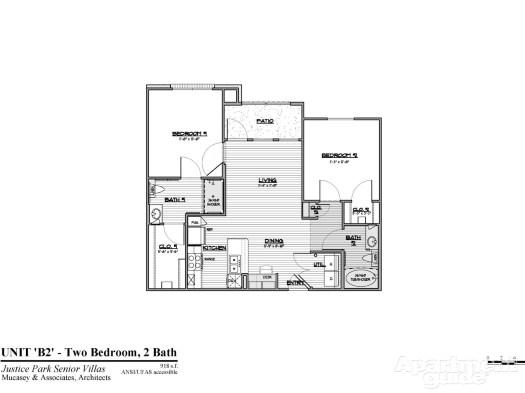 918 sq. ft. B2 HC 50 floor plan
