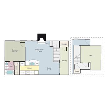 671 sq. ft. Stirling floor plan
