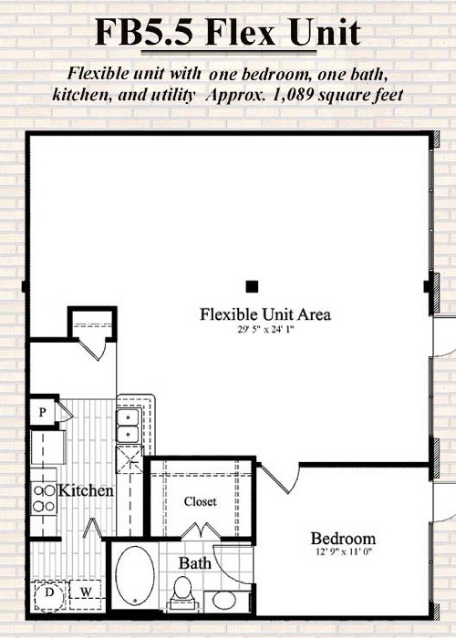 1,089 sq. ft. to 1,500 sq. ft. B6 floor plan