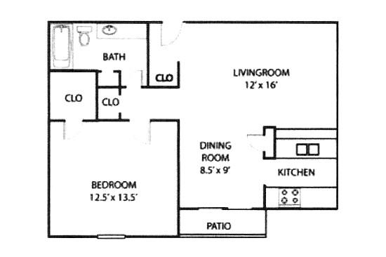 712 sq. ft. A5/PATIO floor plan