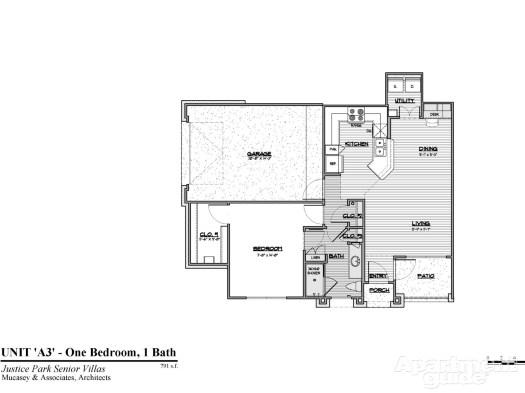 791 sq. ft. A3 60 floor plan