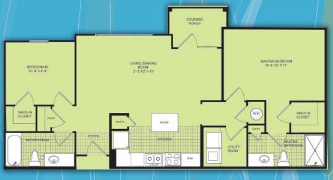 1,040 sq. ft. B1 MKT floor plan