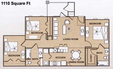 1,110 sq. ft. 60 floor plan