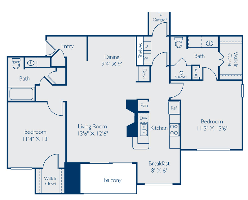 1,188 sq. ft. LBJ floor plan