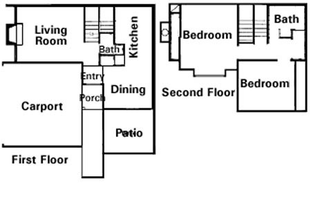 1,050 sq. ft. to 1,100 sq. ft. 2X1.5 floor plan