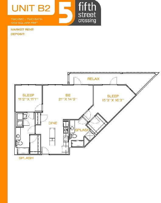 1,202 sq. ft. B2 floor plan