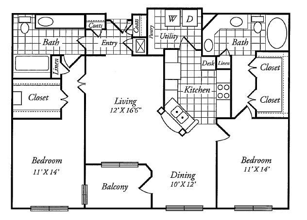1,288 sq. ft. D floor plan