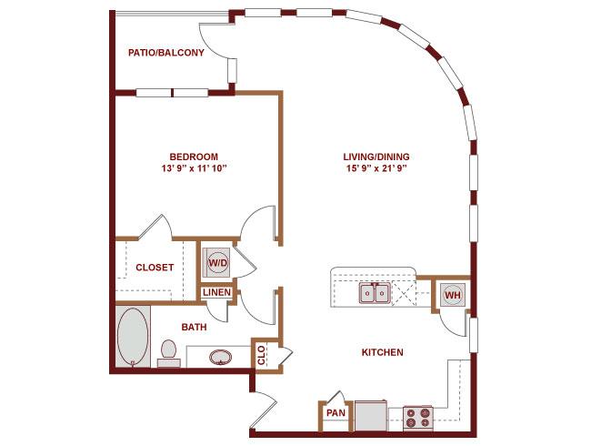 928 sq. ft. A525 floor plan