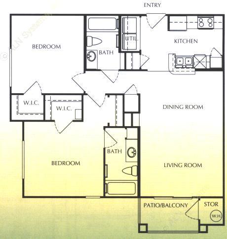 1,034 sq. ft. C/60 floor plan