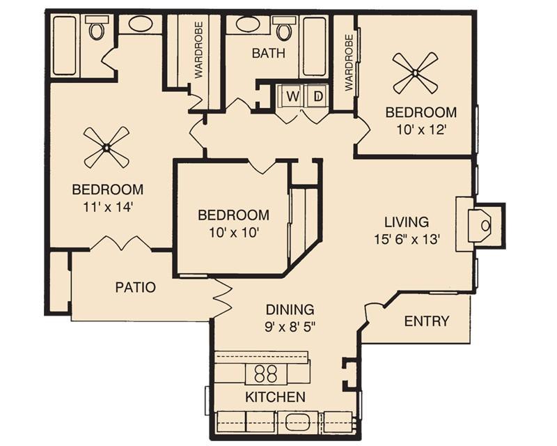 1,188 sq. ft. C1 floor plan