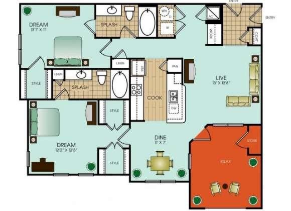 1,193 sq. ft. floor plan