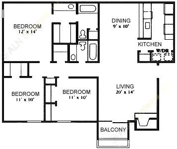 1,231 sq. ft. C-1 floor plan
