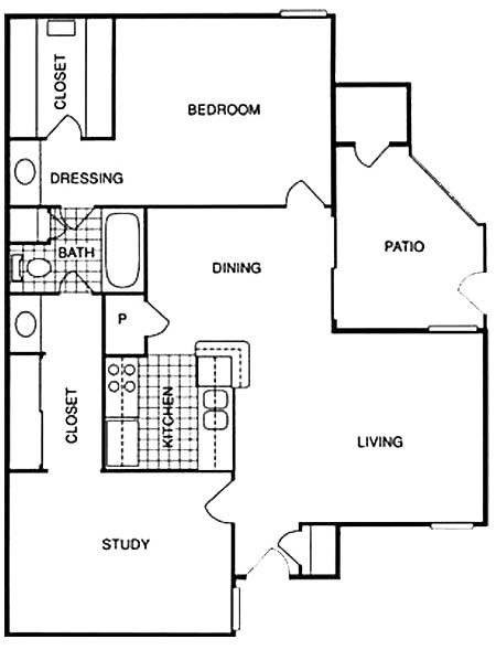 905 sq. ft. BLG floor plan
