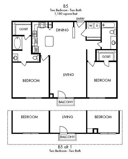 1,180 sq. ft. Lavish floor plan