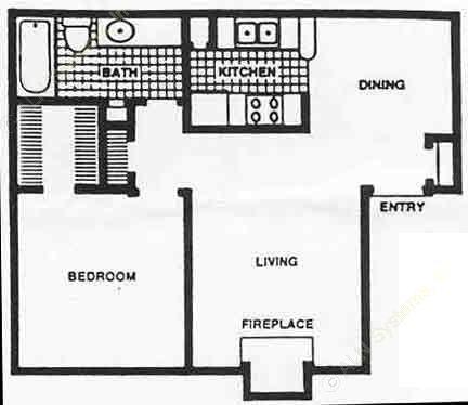 648 sq. ft. 60% floor plan