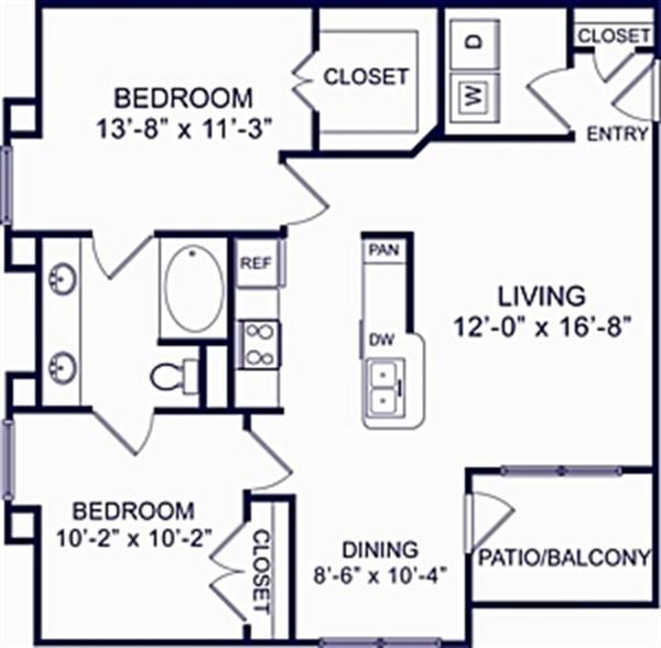 960 sq. ft. Fir 1 floor plan
