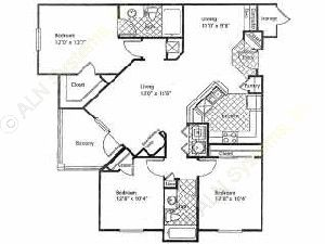 1,273 sq. ft. GRAND CYPRESS floor plan