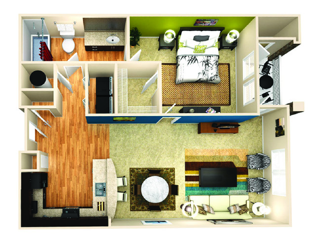 833 sq. ft. Resolve floor plan