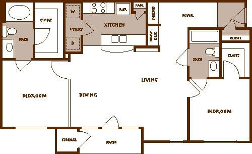 1,095 sq. ft. BALLENTINE floor plan