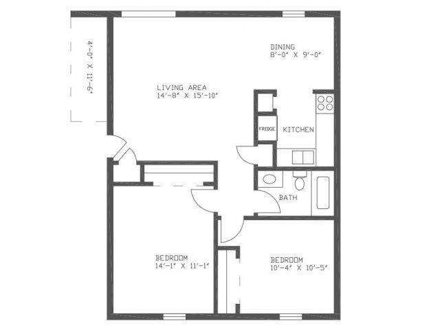 876 sq. ft. CN1 floor plan