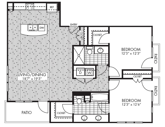1,217 sq. ft. B5 floor plan