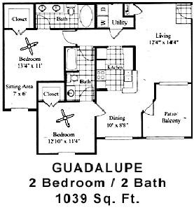1,039 sq. ft. GUADALUPE floor plan