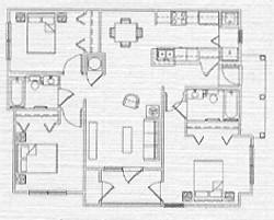 1,070 sq. ft. 60% floor plan