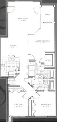 1,256 sq. ft. Turnberry floor plan