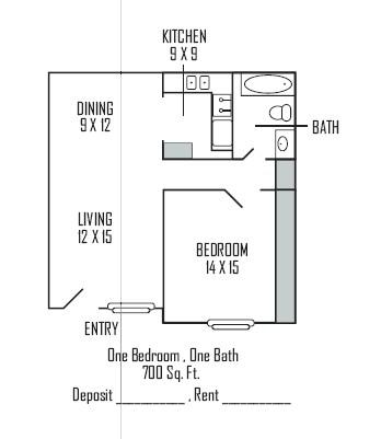 700 sq. ft. A floor plan