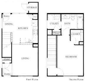 879 sq. ft. A1A/50 floor plan