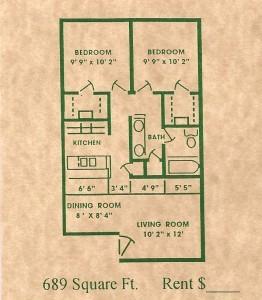 689 sq. ft. floor plan