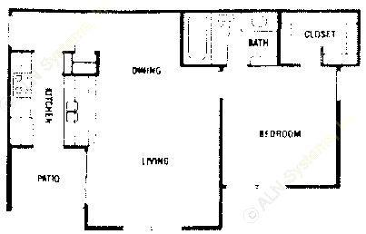 625 sq. ft. A1 ABP floor plan