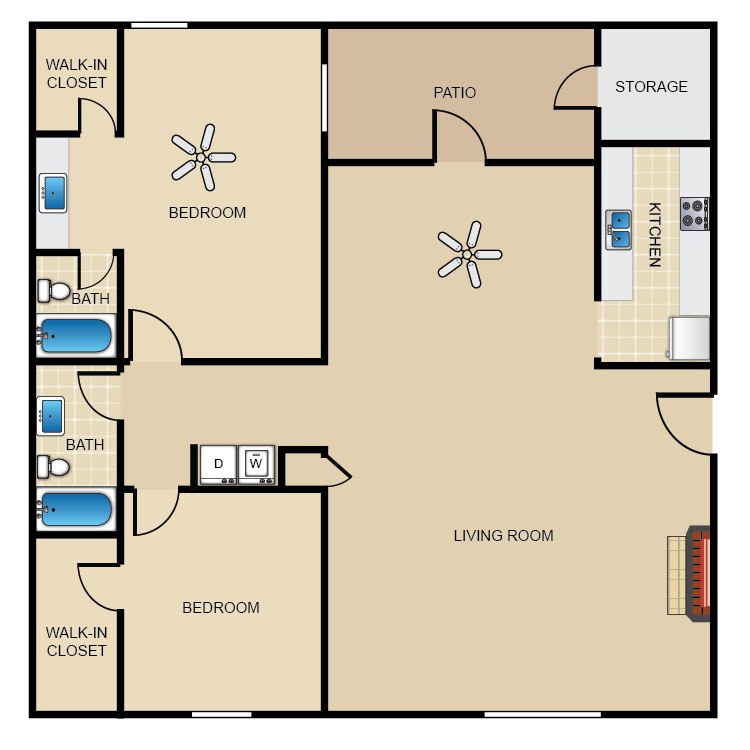993 sq. ft. D2/2 floor plan