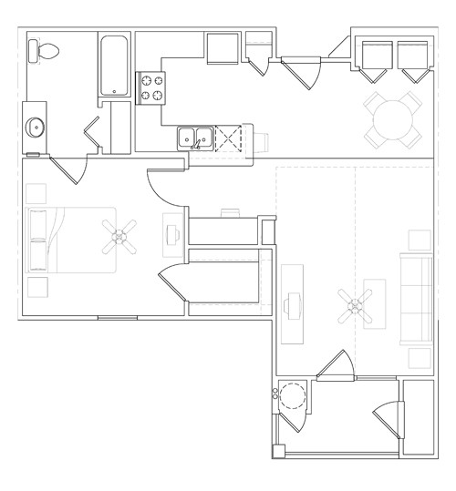 760 sq. ft. 30% floor plan