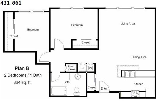 864 sq. ft. 30% floor plan